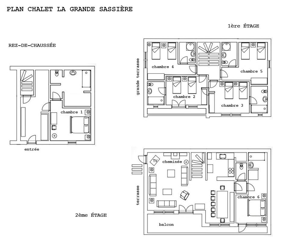 Plan descriptif du Chalet la Grande Sassière, location de chalet en été à Val d'Isère